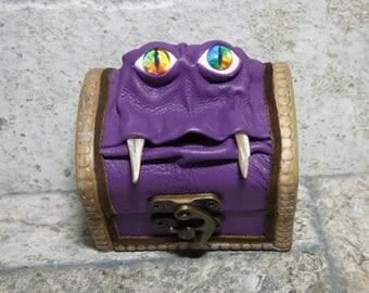 Treasure Chest Desk Organizer Monster Trinket Dice Box Ring Box Small Storage Stash Purple Leather Harry Potter Labyrinth 282