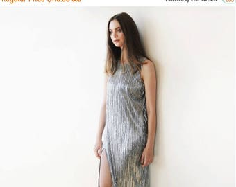 25% OFF Metallic pleated maxi dress, Silver maxi sleeveless gown, Glamorous party dress 1073