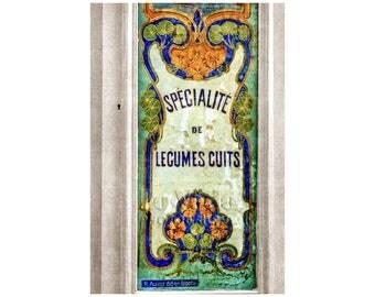 Art Nouveau Shop Window, Paris Photography, Antique Lettering, Vintage Sign, Cobalt Blue, Pale Yellow