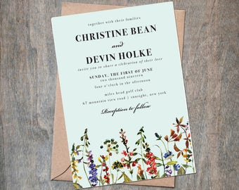 items similar to delicate garden outdoor wedding invitation diy printable mint green and