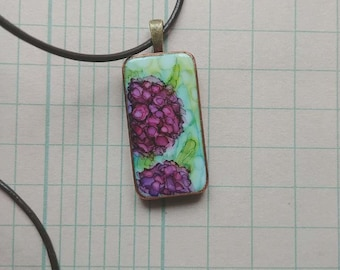 French Hydrangea- Alcohol Ink Art Pendant