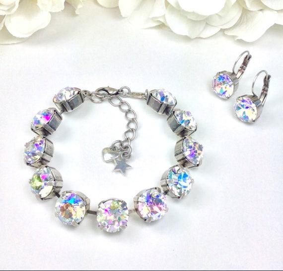 Swarovski Crystal 10MM Bracelet - Designer Inspired - Special Custom Coated Crystal Glacier Blue Crystal Bracelet & Earrings - FREE SHIPPING
