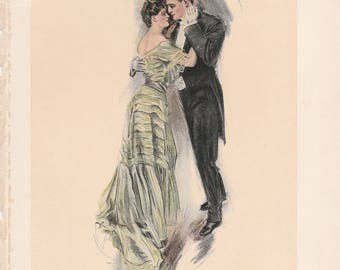 Antique Victorian Art Print-Book Plate-Lithograph Dancing Couple-Artist Signed Howard Chandler Christy 1905