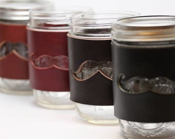 Set of 4 Mason Jar Cuffs. Thick Leather with Mustache cut-out. Ball Jar sleeve wrap pint
