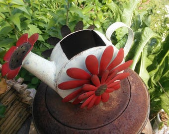 Vintage Watering Can or Sprinkling Can with 3-D Metal Flowers - Garden Decor - Sprinkling Can - Red and White