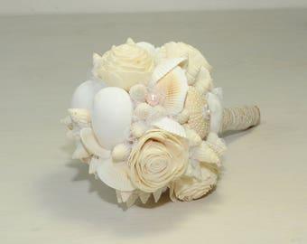 Beach Wedding Bouquet Seaside Alternative Shell Sea Bridal Destination Keepsake Sola Nautical