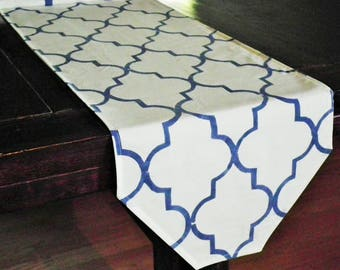 WHITE and NAVY quatrefoil table runner, hand painted blue patterned table linens, bureau scarf, end table cover, ready to ship