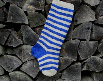 """Knit Christmas Stockings ~22"""" Personalized Hand knit from Wool Striped stockings Blue and White stripes"""