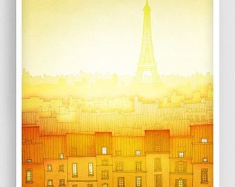 30% OFF SALE: Morning hope (vertical) - Paris illustration Art illustration Giclee Art print Home decor Architecture City print Paris citysc