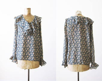 90s ruffle top - vintage 90s ruffle shirt - green floral 1990s blouse - romantic poet blouse - grunge shirt - soft grunge clothing