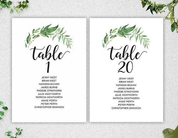 Greenery table seating chart template 1 20 instant for Bridal shower seating chart template