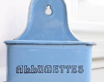 Gorgeous Antique French Blue Enamelware Match Box, c. 1920's, Allumettes,