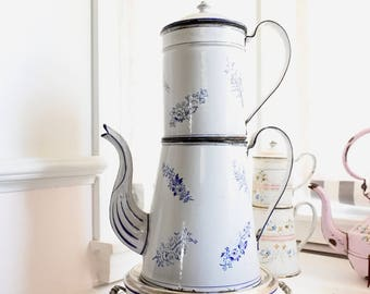 French Antique Enamelware Coffee Pot with Filter, Very Large, Blue and White, c. 1880's, Cafetiére Parisienne, Valentines Gift