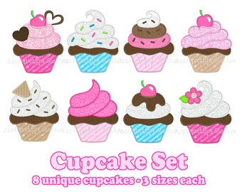 Cupcake Set of 8 Applique Machine Embroidery Designs dessert cake birthday party INSTANT DOWNLOAD