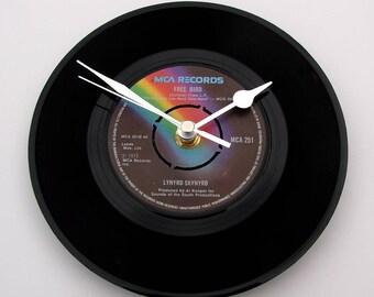 "Lynyrd Skynyrd Vinyl Record CLOCK. A recycled 7"" single ""Freebird"" rock psychedelic Muscle shoals sweet home alabama blue skies rainbow"