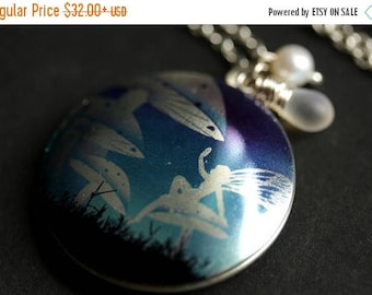 VALENTINE SALE Mushroom Fairie Locket Necklace. Blue Fairy Necklace with Glass Teardrop and Fresh Water Pearl. Silver Locket. Handmade Jewel