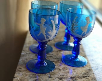 4 Antique Mary Gregory Wine Glasses/Cordials/Cobalt Blue Glass/ White Painted Enameled Images/Children/Bohemian/Victorian/Wedding Gift