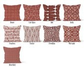 Rust Red Brown Pillow Cover, Decorative Throw Pillow Covers, Euro Pillow Sham 16 x 16, 18 x 18, 20 x 20, 22 x 22, 24 x 24, 26 x 26