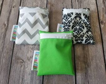 Wetbag Minis Set of 3 ~ Travel Size Mini Zippered Damask WetBag ~ Binky Bag ~ Cosmetic Purse Bag