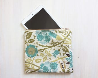 Large Zipper Pouch - Floral Pattern - iPad Mini Pouch - Cosmetics Makeup Bag  - Travel Pouch - Clutch Purse - Modern - Handbag Organizer