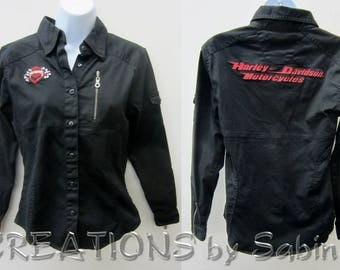Harley-Davidson Shirt Black Red Women S Small Embroidery Button Down Racing Flags Zippered Sleeves Pocket Motorcycle FREE SHIPPING (633)