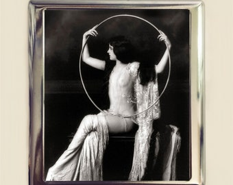 Flapper Hoop Cigarette Case Business Card ID Holder Wallet Art Deco Follies 1920s Jazz Age Burlesque Glam