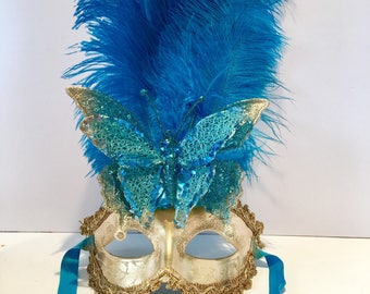 Blue Masquerade Mask -Butterfly Mask- Women's Mask-Masquerade Ball- Costume Party Mask- New Year Eve Ball- Masquerade- Mardi Gras Mask