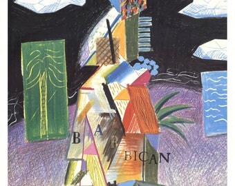 David Hockney-Detail From Cubistic Bar-1982 Lithograph