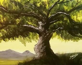 Southern Live Oak - Signed Original Acrylic Painting - 5x7