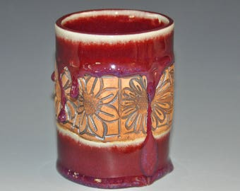 Dark red ceramic tumbler cup with assorted flowers texture, fun to hold cup, Holidays gift, housewarming gift, hostess gift