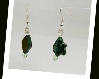 Iridescent Emerald Green Freshwater Pearl Earrings Swarovski Crystal Earrings Hypoallergenic Earrings Nickel Free Earrings Pearly Crystal