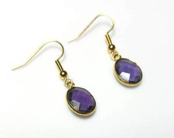 purple bezel gold dangle minimalist earrings hypoallergenic earrings nickel free earrings beaded simple drop jewelry gifts for her