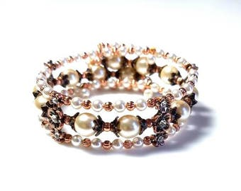 multi strand white Swarovski crystal pearl memory wire cuff bracelet with antiqued copper flower bar multistrand beaded wire wrapped jewelry