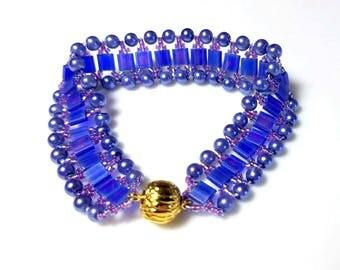 Matte Blue Tila Beads Lavender Pearls Cuff Bracelet with Purple Seed Beads Complex Woven Bracelet Unique Modern Beadwork Jewelry