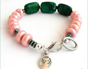 Chrysocolla, titanium - blue/green, pink ceramic cat charm bracelet