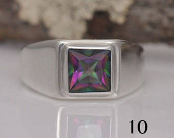 Rainbow topaz and sterling silver ring, square mystic topaz, size 10, #632.