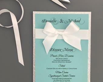 Wedding menu in teal and silver glitter - turquoise wedding menu - elegant wedding menu - modern menus - Co wedding