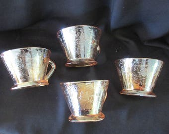 Vintage FLORAGOLD LOUISA Cups By Jeanette Glass, Carnival glass tea cups