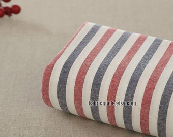 Yarn Dye Stripes Cotton Fabric, Navy Blue Red White Stripes Cotton Vintage Color Style- 1/2 Yard