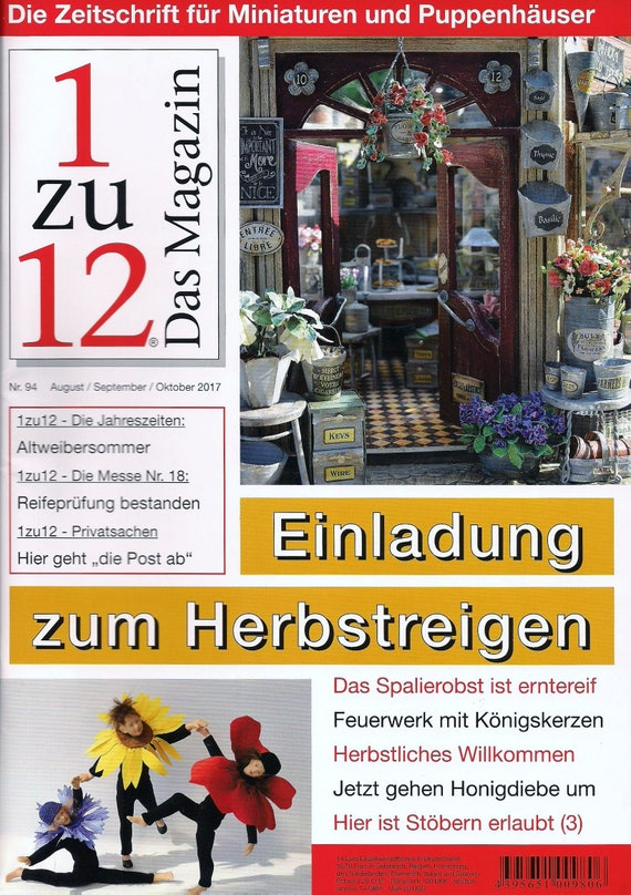 94 - 1zu12 magazine, the magazine for miniatures and dollhouses, no. 94 of August/September/October 2017, invitation to the Herbsreigen