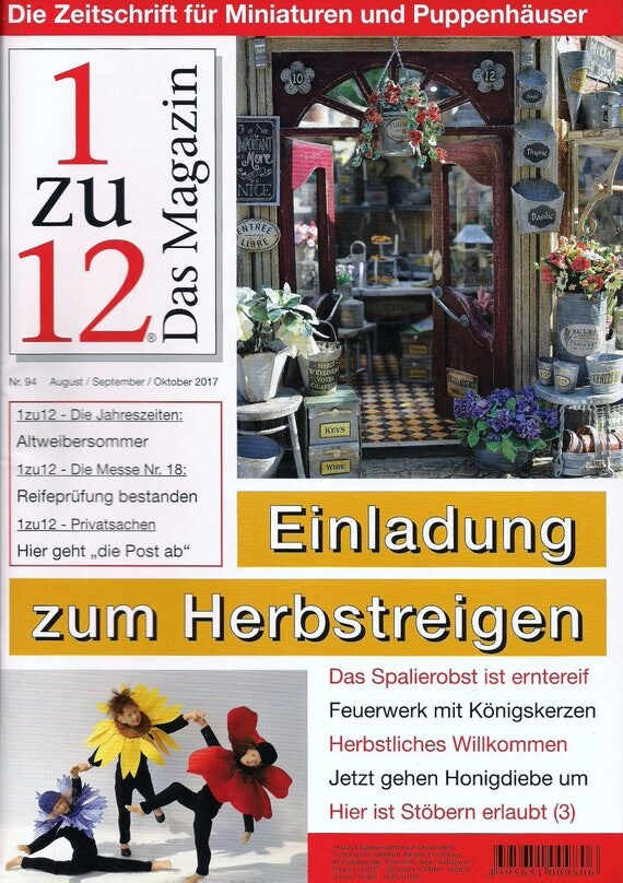 94-1zu12 the magazine, the Journal for Miniatures and Doll houses, No. 94 August/September/October 2017, invitation to the autumn dance