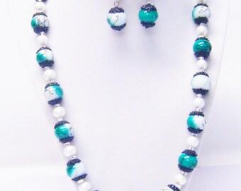 Green White Black Splatter Glass Bead Necklace & Earrings Set