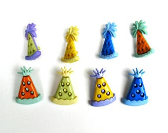 Set of 8 party hat shank buttons