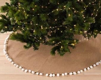 Christmas Tree Skirt | Monogram Tree Skirt | Burlap Tree Skirt | Natural Tree Skirt | Personalized Tree Skirt | Pom Pom White Burlap Skirt