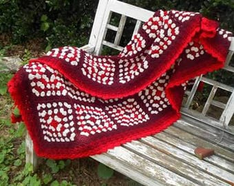Unique, soft, red n white crochet blanket. 75x45  twin or large throw.