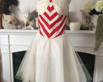 50s Fun Peppermint Stripe Dance Costume Dress