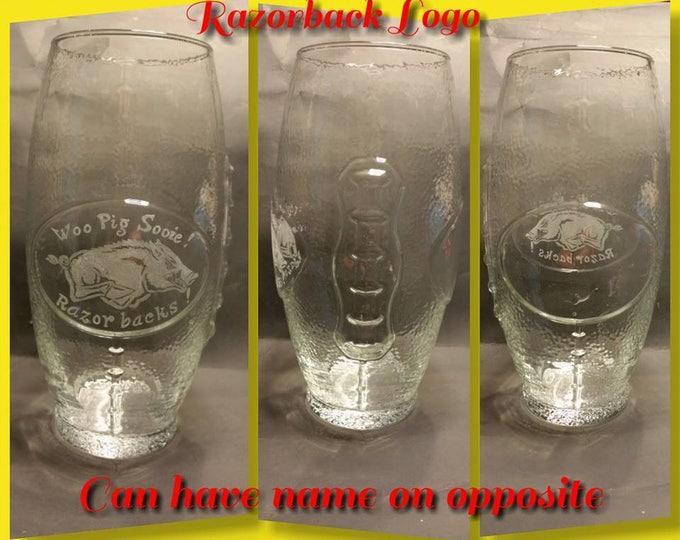 Football Shaped Glass Tumbler with Razorback Image