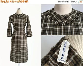 On Sale 1950's Dress - 50's Vintage Dress - Gay Gibson - Khaki Brown Check - Preppy Plaid Dress