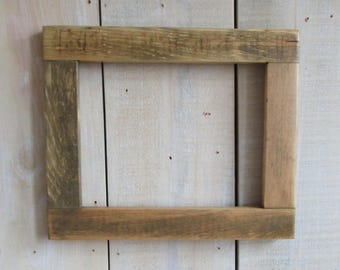 Handmade Rustic Wood Frame, 8 x 10, Reclaimed Wood with Clear Polyurethane Finish, Primitive Frame