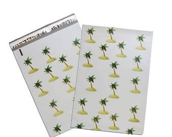 """On Sale 20 Pack -10x13"""" EXCLUSIVE Coconut Palm Tree Island FLAT POLY Mailers, Self Sealing Adhesive Envelope Mailer, Vibrant Colored Mailer"""